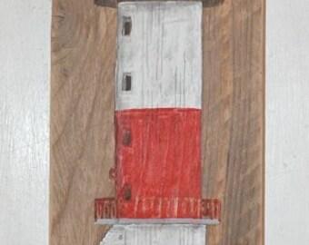 Wood, acrylic painting, Lighthouse lime base