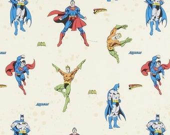 Superheroes fabric - Superman fabric - Batman fabric - Aquaman fabric -  DC Comics fabric - children's fabric - cream cotton fabric