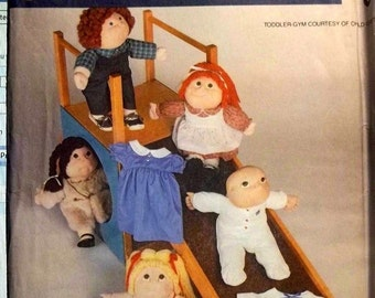 "1984 Vintage McCall's 9256 UNCUT Soft Sculptured Doll Wardrobe 16"" and 18"""