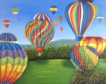 High on Life / Original modern oil painting of hot air balloons