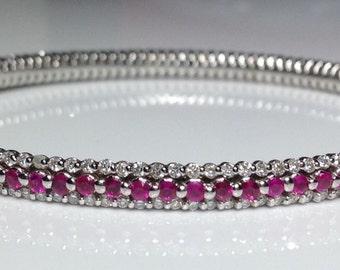 Estate 14K White Gold 5.68 CTW Diamond & Ruby Bangle Bracelet 14.5 Grams