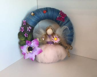 Spring needle felted fairy wreath, Waldorf inspired