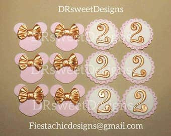 Minnie Mouse Fondant Cupcake Topper. Gold & Pink Minnie Mouse Topper