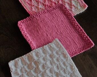 100% cotton knitted dishcloths washcloths, kitchen, bathroom, set of three handmade, hostess gifts, pink, white