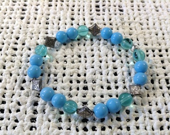 Turquoise and pewter bracelet