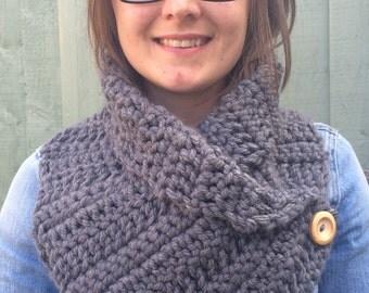 Chunky adult cowl, crochet cowl, grey cowl, chunky crochet scarf, grey scarf, infinity scarf, buttoned cowl, buttoned scarf, chunky wrap