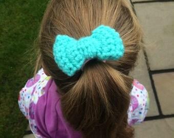 Bow Bobble, handmade crochet bow hairband, winter bow bobble, vegan friendly bobble, green bow bobble, school bobbles