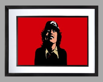 ACDC A3 Print , Graphic .. Art . Poster . bon scott angus young brian johnson AC DC
