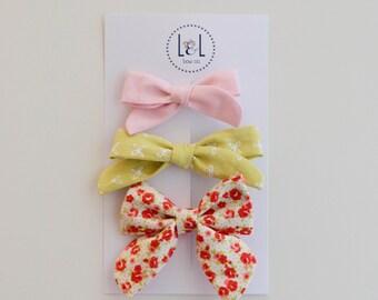 Girls | Baby | Spring Fabric Bow Set