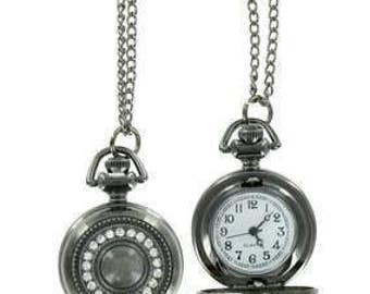 Pocket Watch Pendant Necklace with Rhinestones