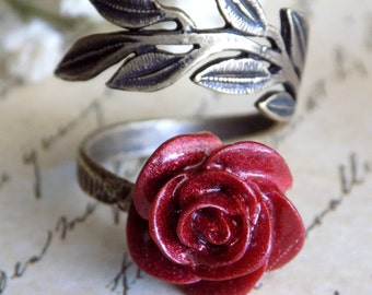 Enchanted Rose Ring, Antique Brass, Beauty and the Beast, Belle