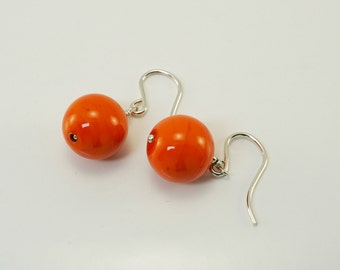 Silver venetian glass earrings orange earrings silver drop earrings simple jewellery shepherd hook earrings gift for her