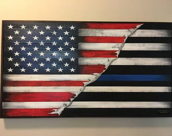 Thin Blue Line/American Flag