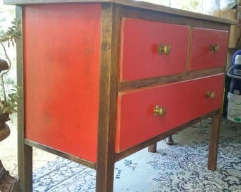 Upcycled chest of drawers - red