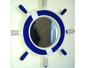Hand painted round hanging wall mirror nautical beach themed