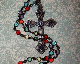 Mystic Stained Glass Cross Neckace