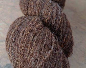 Handspun Yarn, Heavy Laceweight Natural Brown Corriedale and Alpaca 730 yards
