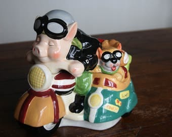 Vintage, Hand-Painted Cookie Jar with Road Hog and Dog in Sidecar