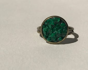 green malachite chipped ring