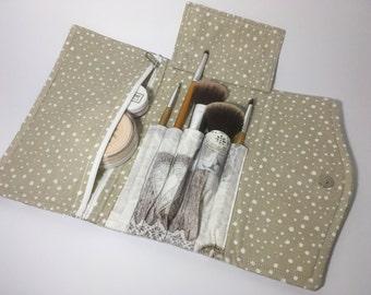 Makeup organizer, travel makeup clutch, brush holder, zippered pocket, valentine's day gift, wedding, bridal survival kit