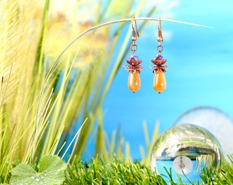 Fairies Dewdrops - earrings / / polished glass beads, faceted beads, drop / honey yellow / stained / copper / lovely / fantasy