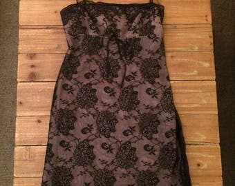 Vintage 90's Laundry by Shelli Segal Black Lace Dress Size 10
