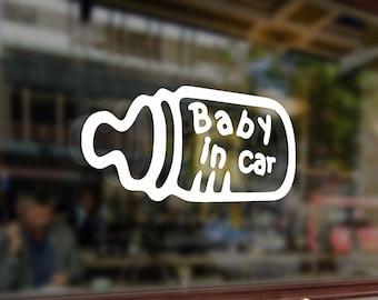 Baby in car Vinyl Stickers Funny Decals Bumper Car Auto Computer Laptop Wall Window Glass Skateboard Snowboard Helmet