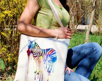 Zebra tote bag -  Zebra shoulder bag - Fashion canvas bag - Colorful printed market bag - Gift Idea