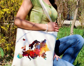 Europe map tote bag -  Continental map shoulder bag - Fashion canvas bag - Colorful printed market bag - Gift Idea