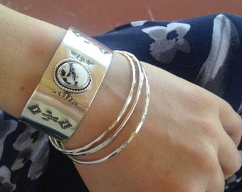 Handstamped sterling silver and white buffalo cuff bracelet