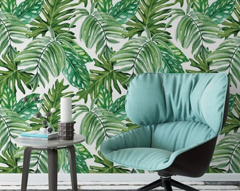 Palm leaf removable wallpaper / monstera leaf self adhesive wallpaper / botanical banana leaf temporary wallpaper B127-27