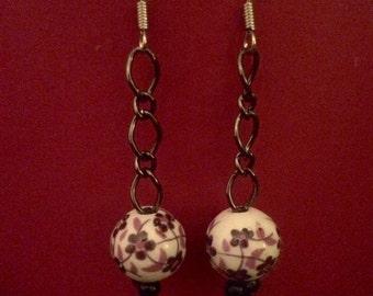 Purple blossom porcelain jewelry