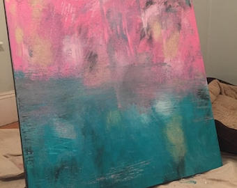 Abstract, acrylic, turquoise, pink, sand, black and white