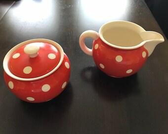 Mid-Century Waechtersbach Sugar Bowl and Creamer Set