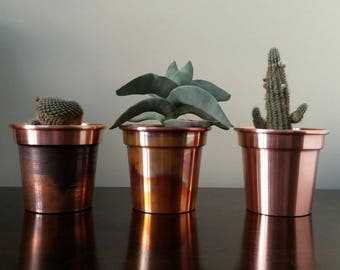 4 Inch Handmade Solid Copper Plant Pots / Planters Set of 3