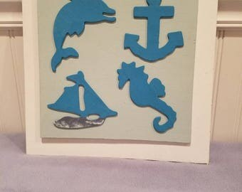 Wall hanging art, nautical theme all hand assembled im our wood shop.
