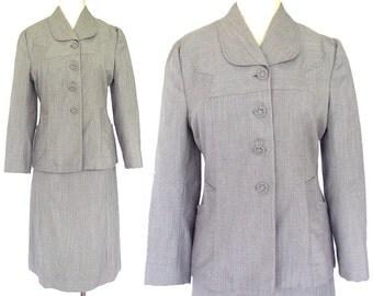 "Vintage 1940's Gray Pinstripe Women's Suit - ""Ripple Rep, Lady Scott, Exclusive Fabric"""