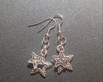 Silver Double Star Dangle Earrings
