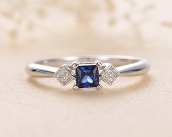 Anniversary Gifts For Women Her Three Stone Ring Antique Cluster Blue Sapphire and Diamond Unique Engagement White Gold Birthstone Gemstone