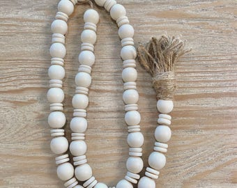 Mixed Bead wood garland/farmhouse beads/wood bead garland/home decor