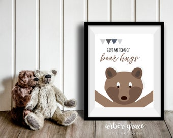 Bear Hugs, 11x14 Digital Download Prints, Wall Art, Boy Nursery, Bear Nursery, Playroom, Arbor Grace Collections