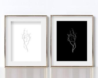 Manzanita Branch Digital Download Prints Black and White Prints Modern Abstract Art Printable Art Black and White Photography Printable Art