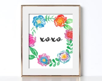 Floral Poster Bright Colors Digital Download Floral Print XOXO love poster xoxo poster cubicle decor gift for coworker floral bright colors