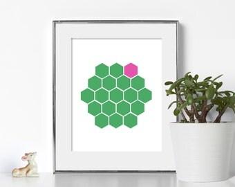 Geometric Art Printable Art Scandinavian Green and Pink Hexagon Print Geometric Print Instant Download Art Art Wall Decor Abstract Art Print
