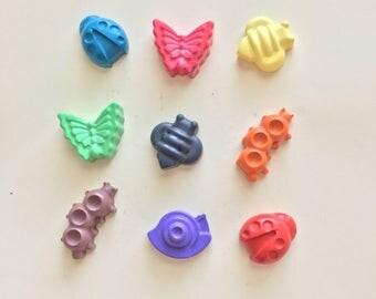 Bug Crayons (9 Bugs)- Insect crayons- Birthday Gift- Easter basket gift
