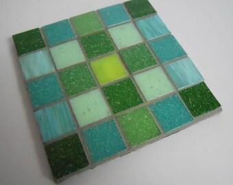 Mosaic Coasters Green Glass Set of 4