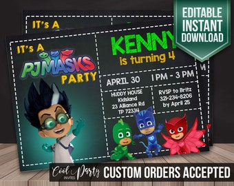 PJ masks invitation, pj masks invite, pj masks birthday invitation, pj masks instant download, pj masks invite, pj masks DIY, pj masks