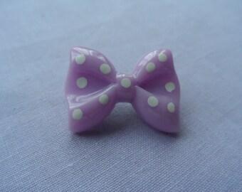 Cute pastel purple and white polka dot brooch, hat pin, bag pin.