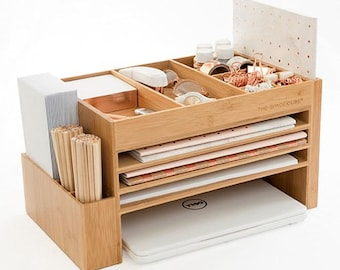 The Space Cube Bamboo/Wood Desk Accessory + Docking Station