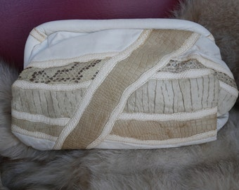 Unique Vintage Clutch White/Off White/Taupe Leather and Snake Skin